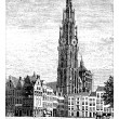 Royalty-Free Stock Vector Image: Cathedral of Our Lady, in Antwerp, Belgium, vintage engraving.