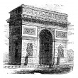 Stock Vector: Triumphal Arch or Arc de Triomphe, Paris, France. Vintage engrav