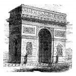 Triumphal Arch or Arc de Triomphe, Paris, France. Vintage engrav — Stock Vector #6712526