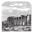 Royalty-Free Stock Vector Image: Temple of Luxor (or Quorenth) ruins, in Thebes, Egypt. Vintage e