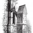 Buttress arch of Lincoln Cathedral chapter, England. Old engravi - Stock Vector