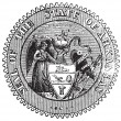Royalty-Free Stock Vector Image: Seal of Arkansas prior to 1907 old engraving.