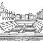 Floating Basin vintage engraving — Stock Vector
