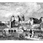 Ruins of Bijapur, in Karnataka, India, during the 1890s, vintage — Stock Vector