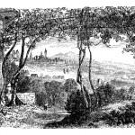 Bergamo, in Lombardi, Italy, vintage engraving — Stock Vector