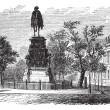 Постер, плакат: Frederick the Great king statue Berlin Germany vintage engr