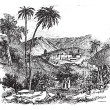 Bethany or Biblical village, Jerusalem, vintage engraving. — Stockvectorbeeld