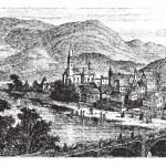Bingen am rhein stad, Rheinland-Pfalz, Tyskland, vintage eng — Stockvektor