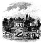 Bithoor, Ghat, Ganges, Kanpur, Uttar Pradesh, India, vintage en — Stock Vector #6718618