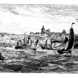 Boulogne-sur-Mer city, France, vintage engraving in the 1890s. — 图库矢量图片