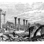 Ruins of Bozrah, Captial city of Edorn, Jordan, now Bouseira vi — Stock Vector