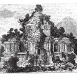 The large Temple at Brambanan, Indonesia, vintage engraving. — Stock Vector