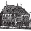 Council house or council estate, Bremen, Germany, vintage engrav - Stock Vector