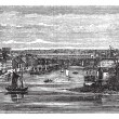 Penfeld, river, Brest, France, vintage engraving. — Stockvektor