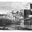 The castle of Brindisi vintage engraving. — Stock Vector #6719474