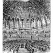 Vector de stock : Sketch of reading room in British Museum in London, Unit
