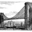 Vector de stock : Illustration of Brooklyn Bridge and East River, New York, United