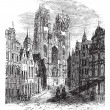 The Church Saint-Gudula of Brussels, Belgium. Vintage engraving. — Stock Vector