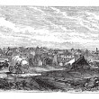 Bucharest, city, Romania, vintage engraving. — Stock Vector #6719747