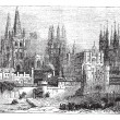 Burgos, city, Spain, vintage engraving. - Stock Vector
