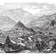 Kabul, city, Afghanistan, vintage engraving. - Stock Vector
