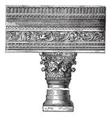 Pillar in the Church of Saint John in Constantinople. vintage en — Stock Vector