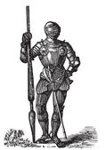 Henry VII armor, King of England, old engraving — Stock Vector