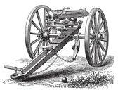 Galting gun vintage engraving. — Stock Vector