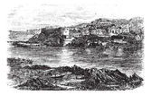 Attock or Campbellpur, Punjab, Pakistan. Vintage engraving. — Stock Vector