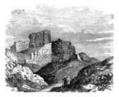 Ruins of the Main Palace in Babylonia vintage engraving. — Vector de stock