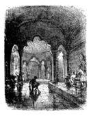 Dampfbad vintage gravur. — Stockvektor