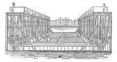 Flotante grabado vintage de cuenca — Vector de stock
