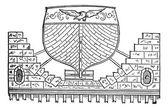 フローティング盆地ビンテージ彫刻 — ストックベクタ