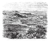 Bethel köyü, kudüs, antika gravür. — Stok Vektör