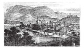 Bingen 是莱茵小镇,莱茵兰-普法尔茨,德国复古  — 图库矢量图片
