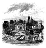 Bithoor, Ghat, Ganges, Kanpur, Uttar Pradesh, India, vintage en — Stock Vector