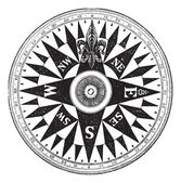 Britse marine kompas, vintage gravure. — Stockvector