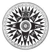 Britský námořní kompas, vintage gravírování. — Stock vektor