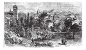 Brescia, city, Lombardy, Italy, vintage engraving. — Vettoriale Stock