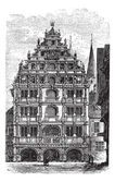 The Gewandhaus of Brunswick, or Braunschweig, Lower Saxony, Germ — Stock Vector