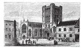 Bury St Edmunds, market town, Suffolk, England, vintage engravin — Stock Vector