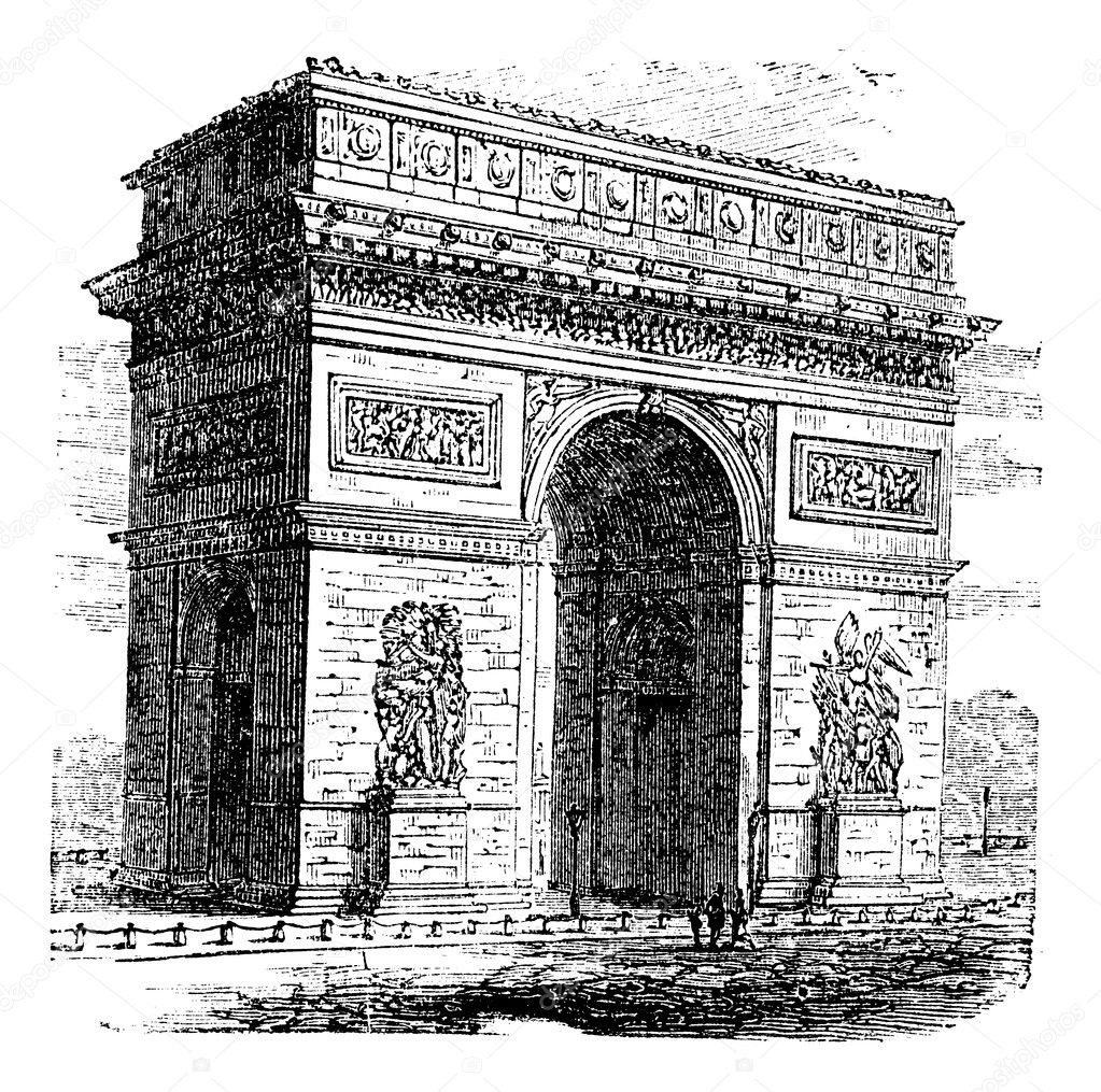Triumphal Arch or Arc de Triomphe, Paris, France. Vintage engraving. Old engraved illustration of Triumphal Arch. It is one of the most famous monuments in Pari — Stock Vector #6712526
