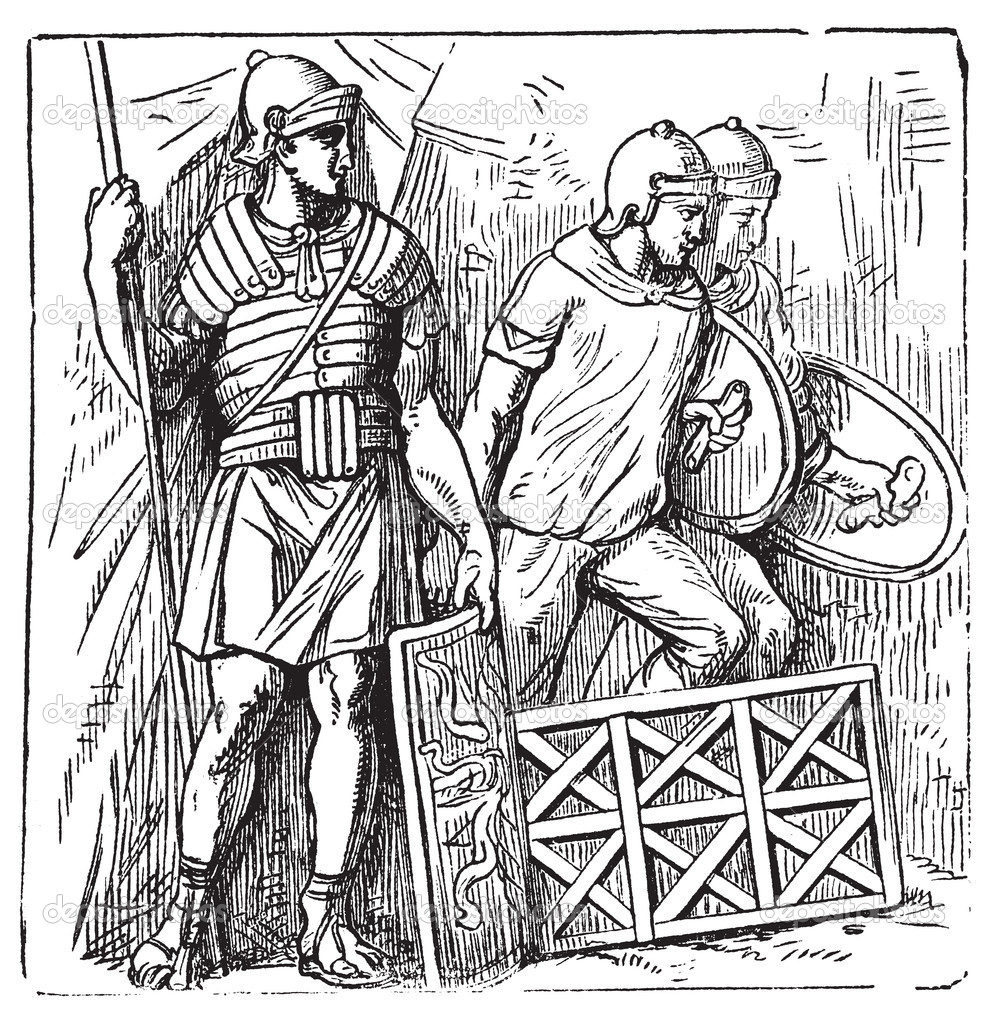 Roman armors and shield old engraving, based on the Trajan's Column. Vector, engraved illustration of roman soldier, equipped with armor, montefortino helmet, s — Stock Vector #6713725