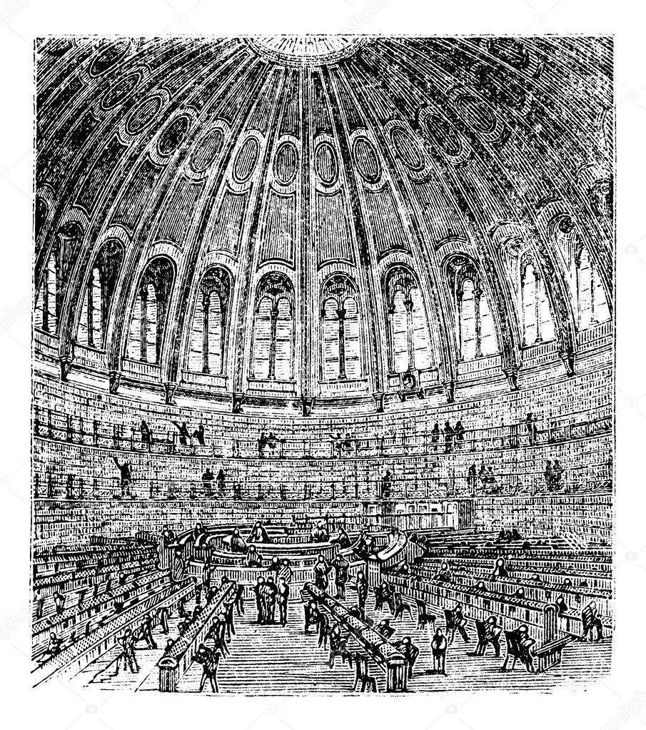 Sketch of the reading room in the British Museum in London, United Kingdom (England), vintage engraving from 1890s. Old engraved illustration of a reading room   Stock Vector #6719560