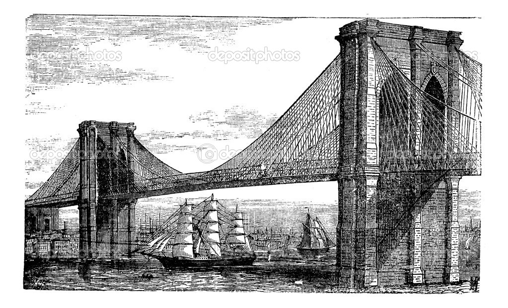 Illustration of Brooklyn Bridge and East River, New York, United States. Vintage engraving from 1890s. Old engraved illustration of the Brooklyn suspension Brid — Stock Vector #6719611