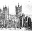 Canterbury Cathedral, Kent,England vintage engraving - Stock Vector