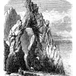 Capri, Italy, in the Tyrrhenian Sea. Natural rock arch or gaunt — Stock Vector