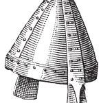 Norman helmet or galea vintage engraving — Stock Vector