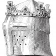 Helmet or galea worn by Louis IX in the battle of the Massoure v - Stock Vector