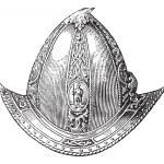 Cabaset peaked or helmet vintage engraving — Stock Vector #6721160